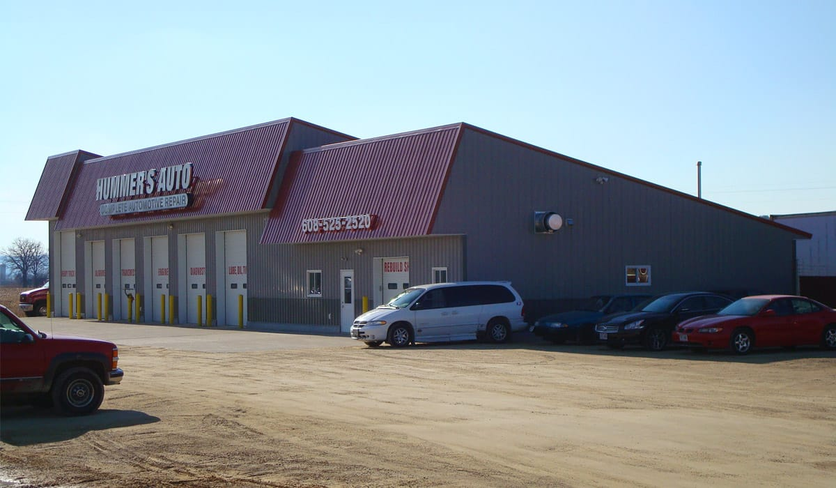 Hummer's Automotive Repair Shop addition built by Simmons Construction.