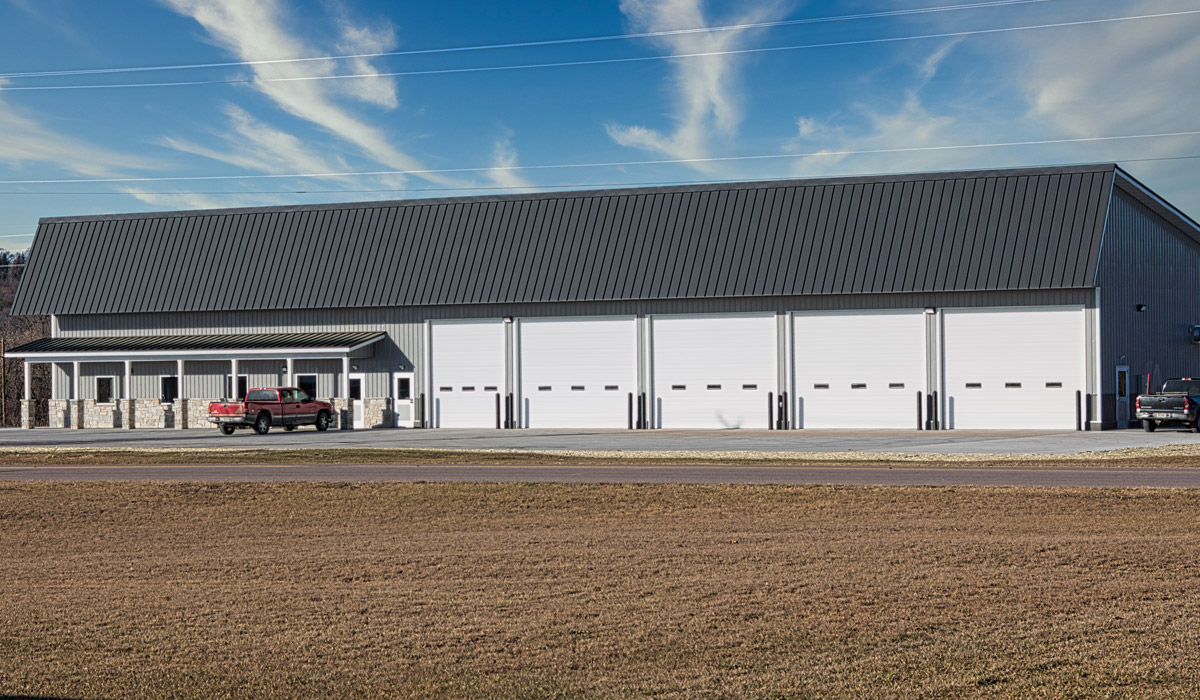 Commercial office building with garage spaces built by Simmons Construction - General Contractor