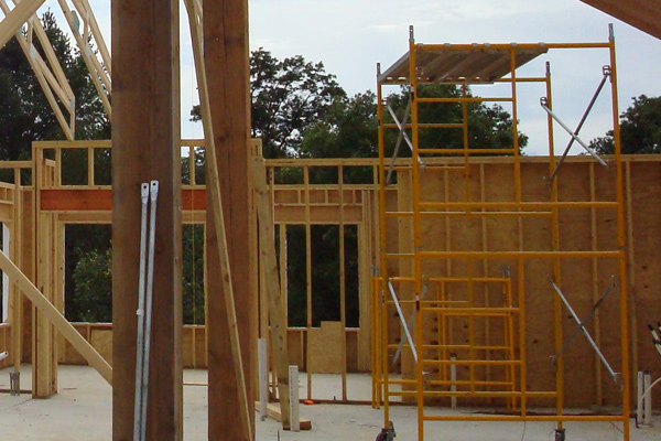 Simmons Construction framing a new building.